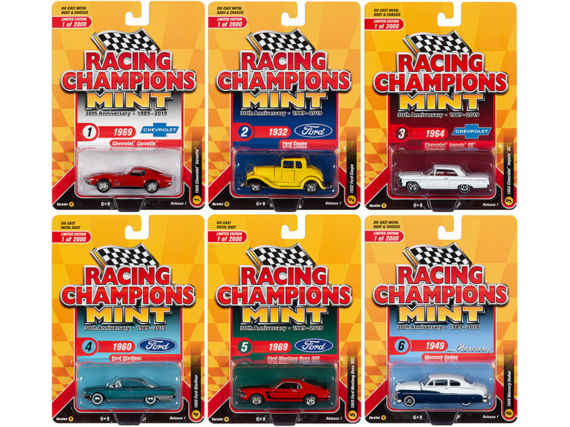 2019 Mint Release 1 Set A of 6 Cars 30th Anniversary 1989 2019 Limited Edition 2000 pieces Worldwide 1/64 Diecast Models Racing Champions RC010 A