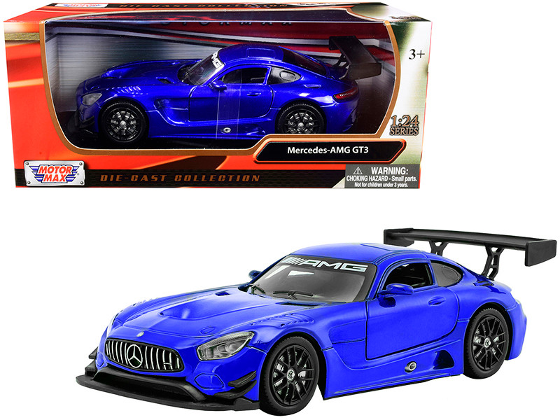 Mercedes AMG GT3 Bright Blue 1/24 Diecast Model Car Motormax 73386