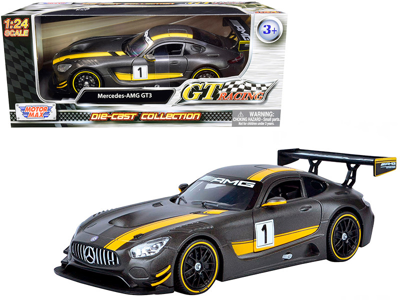 Mercedes AMG GT3 #1 Matt Gray Yellow Stripes GT Racing 1/24 Diecast Model Car Motormax 73784
