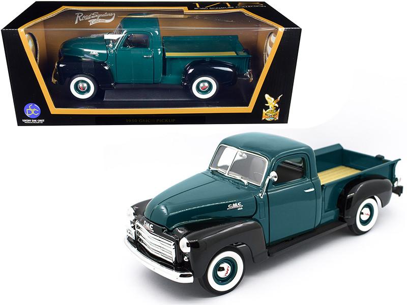 1950 GMC Pickup Truck Dark Green Black 1/18 Diecast Model Car Road Signature 92648