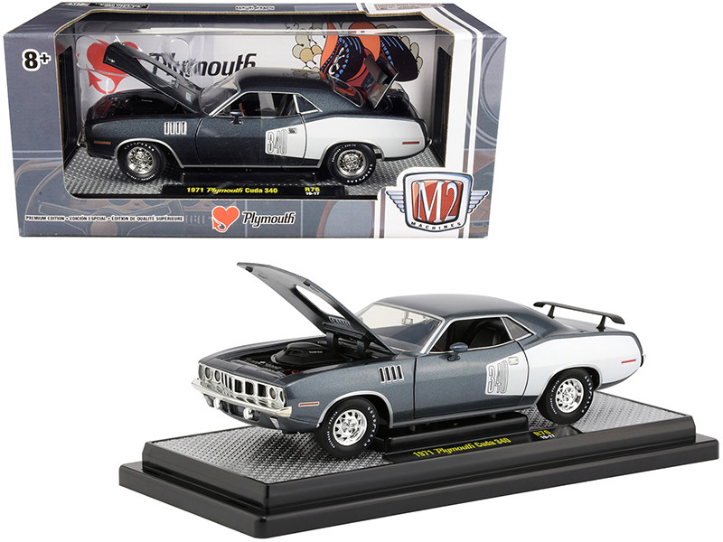 1971 Plymouth Barracuda 340 Winchester Gray Metallic White Stripes Limited Edition 5880 pieces Worldwide 1/24 Diecast Model Car M2 Machines 40300-76 A