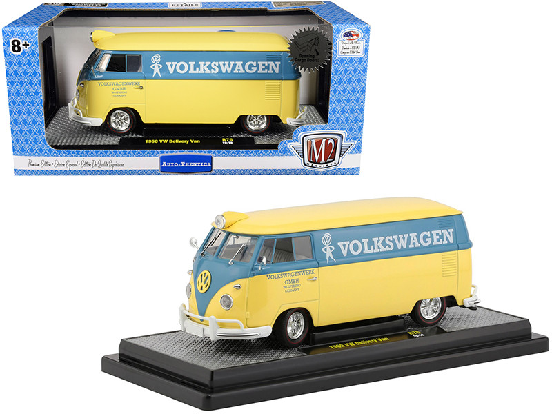 1960 Volkswagen Delivery Van Yukon Yellow Dove Blue Stripe Volkswagenwerk GMBH Limited Edition 5880 pieces Worldwide 1/24 Diecast Model M2 Machines 40300-76 B
