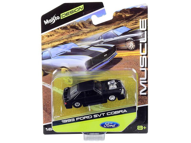 1993 Ford Mustang SVT Cobra Blower Engine Matt Black Maisto Design 1/64 Diecast Model Car Maisto 15494