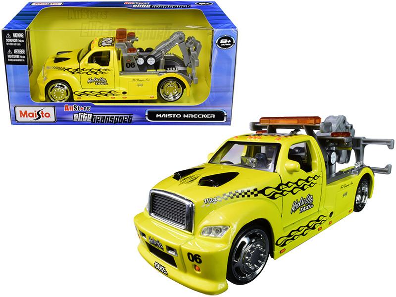 Maisto Wrecker Tow Truck Yellow Koolsville Taxi Co All Stars Elite Transport Series 1/24 Diecast Model Maisto 32993