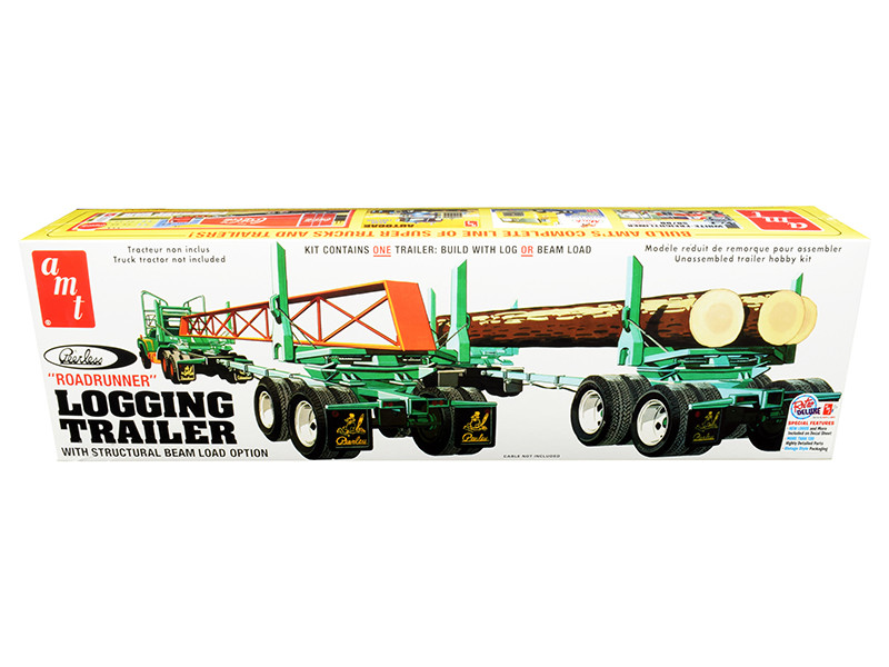 Skill 3 Model Kit Peerless Logging Trailer Roadrunner with Structural Beam Load Option 1/25 Scale Model AMT AMT1103
