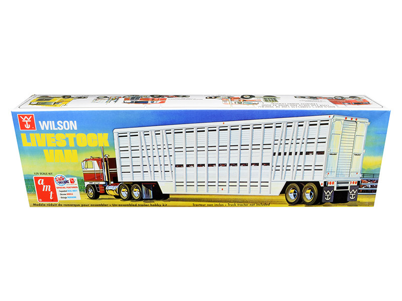 Skill 3 Model Kit Wilson Livestock Van Trailer 1/25 Scale Model AMT AMT1106