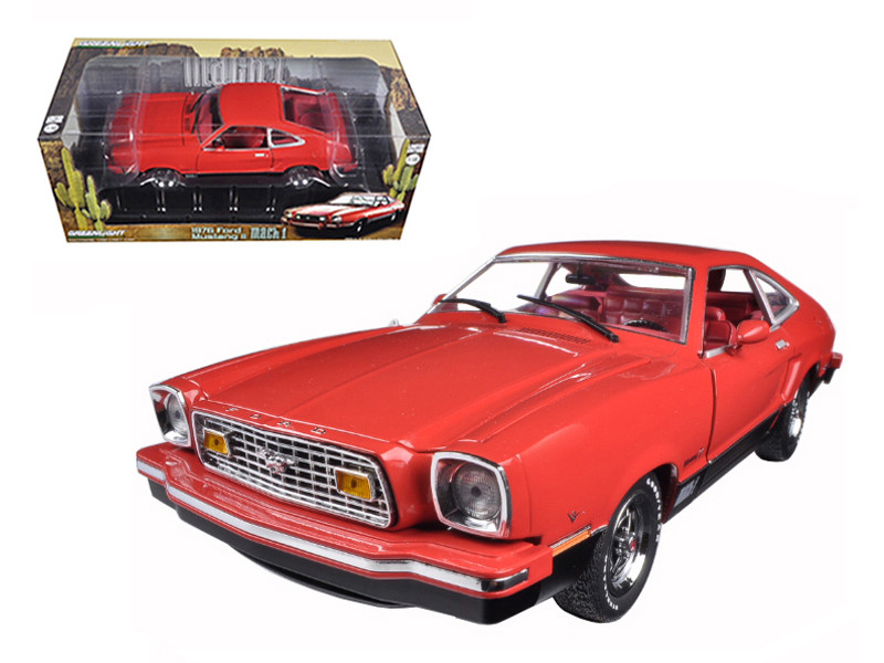 1976 Ford Mustang II Mach 1 Red with Black 1/18 Diecast Car Model Greenlight 12867
