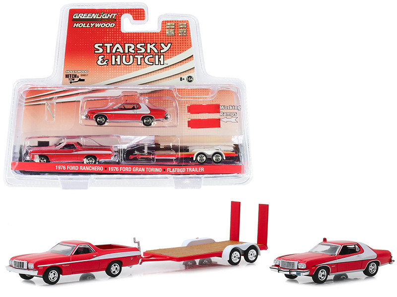 1976 Ford Ranchero with 1976 Ford Gran Torino and Flatbed Trailer Starsky and Hutch 1975 1979 TV Series Hollywood Hitch and Tow Series 7 1/64 Diecast Model Cars Greenlight 31080 A