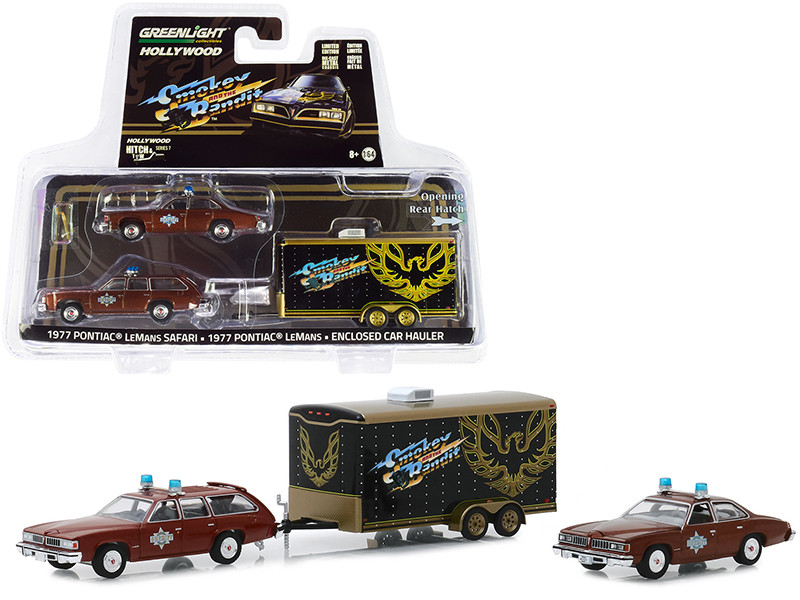 1977 Pontiac LeMans Safari with 1977 Pontiac LeMans Sheriff Buford T. Justice's and Enclosed Car Hauler Smokey and the Bandit 1977 Movie Hollywood Hitch and Tow Series 7 1/64 Diecast Model Cars Greenlight 31080 B