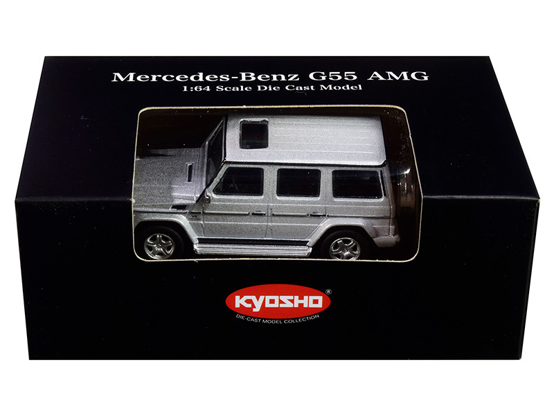 Mercedes Benz G55 AMG Silver 1/64 Diecast Model Car Kyosho K07021G3
