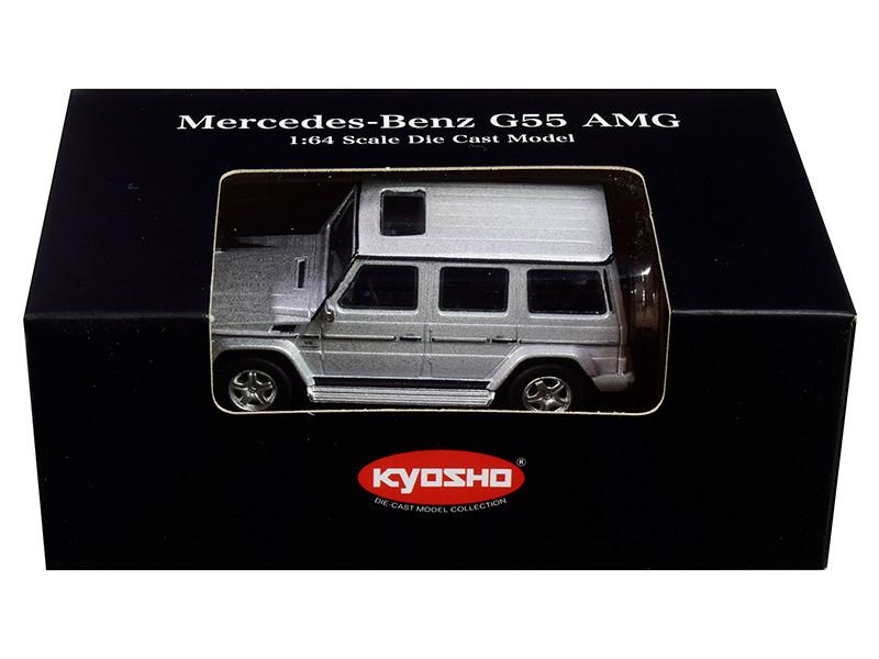 Mercedes Benz G55 AMG Silver 1/64 Diecast Model Car Kyosho K07021G3