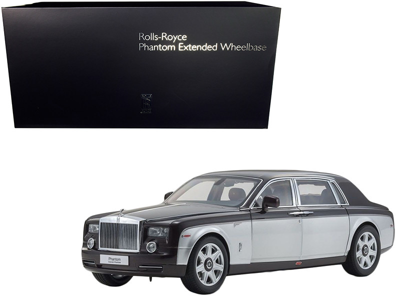 Rolls Royce Phantom Extended Wheelbase Dark Red Silver 1/18 Diecast Model Car Kyosho 08841 DRB
