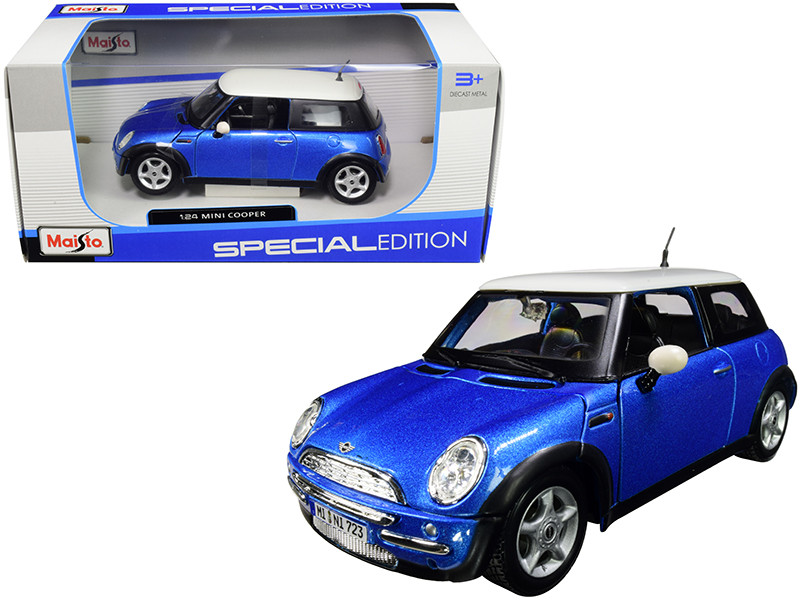 Mini Cooper Metallic Blue White Top 1/24 Diecast Model Car Maisto 31219