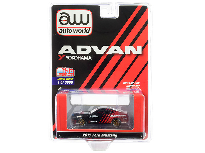 2017 Ford Mustang ADVAN Yokohama Red Black Limited Edition 3600 pieces Worldwide 1/64 Diecast Model Car Autoworld CP7584