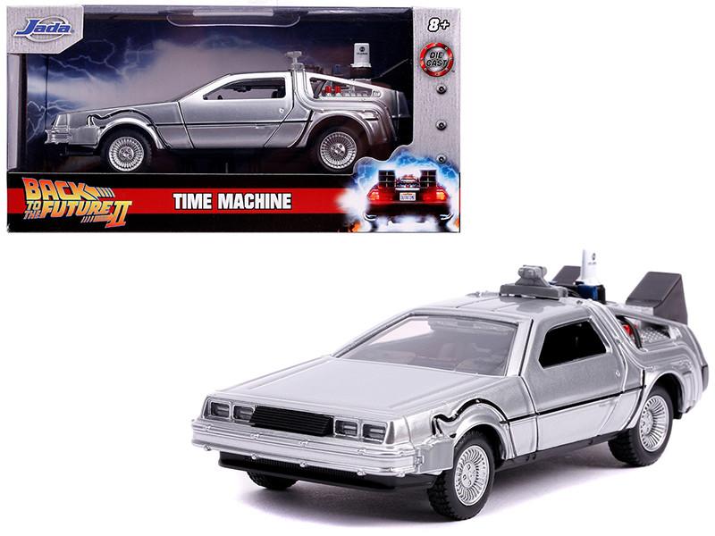 DeLorean DMC Time Machine Silver Back to the Future Part II 1989 Movie Hollywood Rides Series 1/32 Diecast Model Car Jada 30541