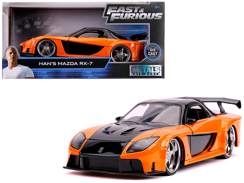 Han's Mazda RX-7 Orange Black Fast & Furious Movie 1/24 Diecast Model Car Jada 30732