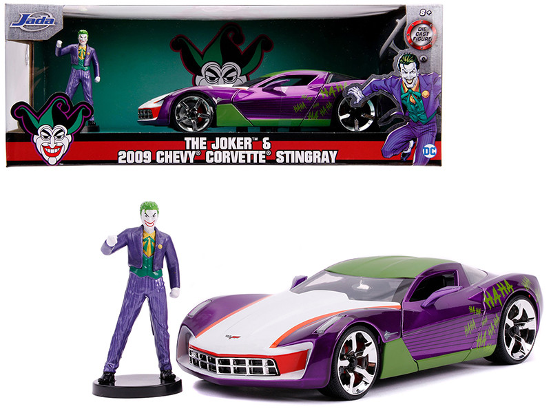 2009 Chevrolet Corvette Stingray Joker Diecast Figure DC Comics Series 1/24 Diecast Model Car Jada 31199