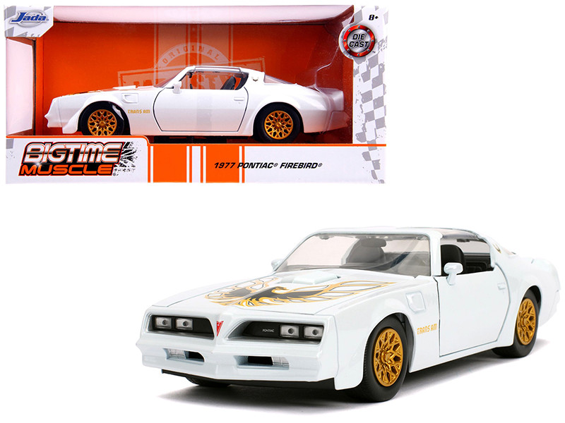 1977 Pontiac Firebird Trans Am Pearl White Gold Wheels Bigtime Muscle 1/24 Diecast Model Car Jada 31600