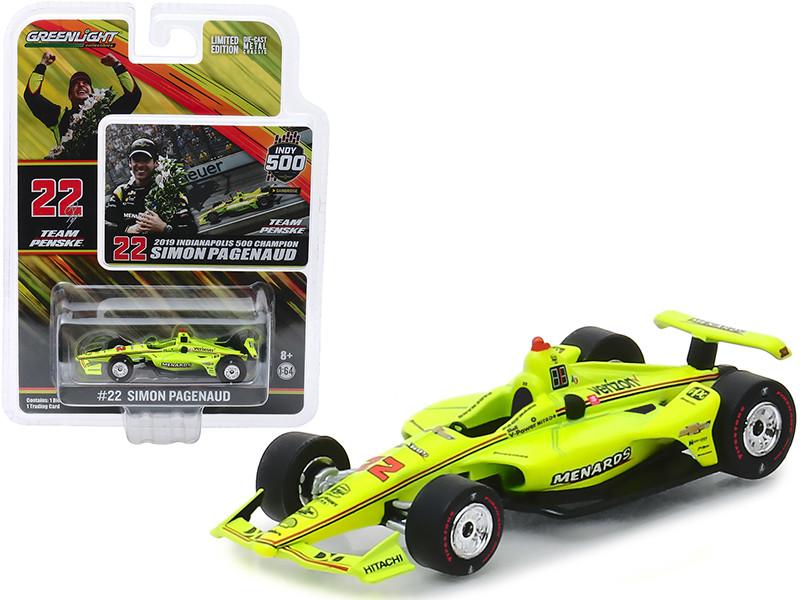 Dallara Indy Car #22 Simon Pagenaud Menards Team Penske Indianapolis 500 Champion 2019 1/64 Diecast Model Car Greenlight 10855