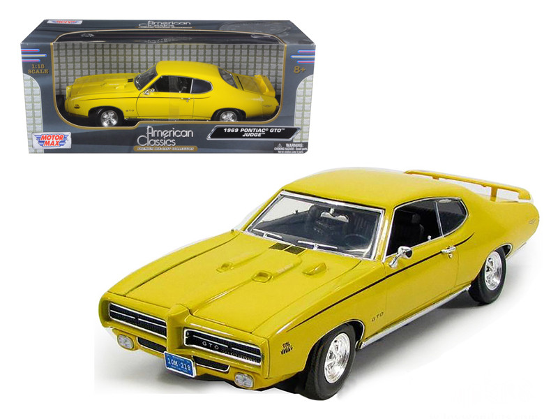 1969 Pontiac GTO Judge Yellow 1/18 Diecast Model Car Motormax 73133