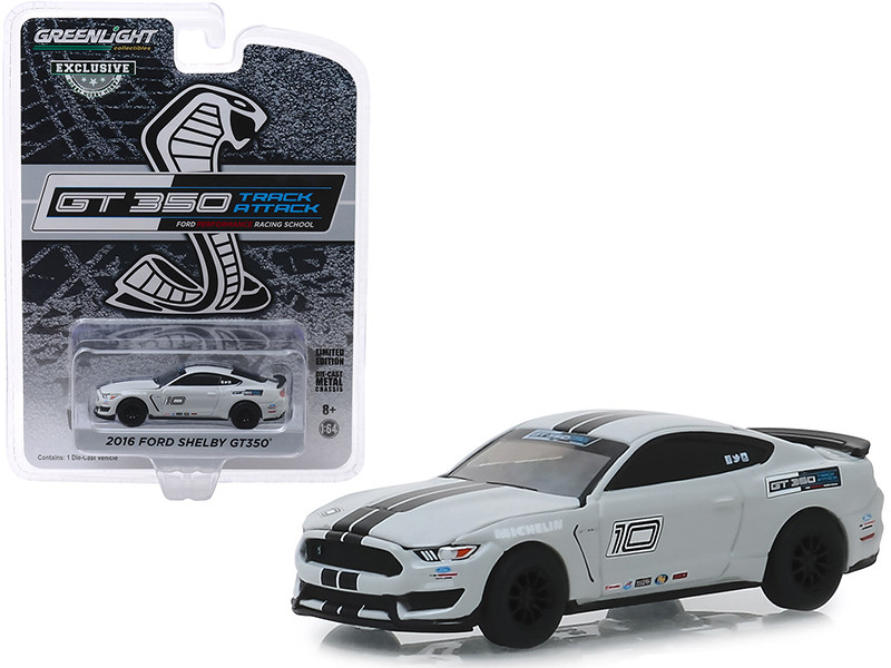 2016 Ford Mustang Shelby GT350 #10 Avalanche Gray Black Stripes Ford Performance Racing School GT350 Track Attack Hobby Exclusive 1/64 Diecast Model Car Greenlight 30108
