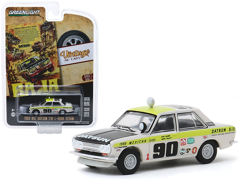 1969 Datsun 510 4-Door Sedan #90 1969 Mexican 1000 Datsun Rallys To The Cause Vintage Ad Cars Series 1 1/64 Diecast Model Car Greenlight 39020 B