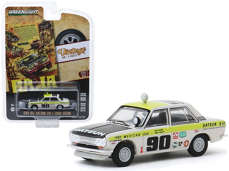 1969 Datsun 510 4-Door Sedan #90 1969 Mexican 1000 Datsun Rallys To The Cause Vintage Ad Cars Series 1 1/64 Diecast Model Car Greenlight 39020 B