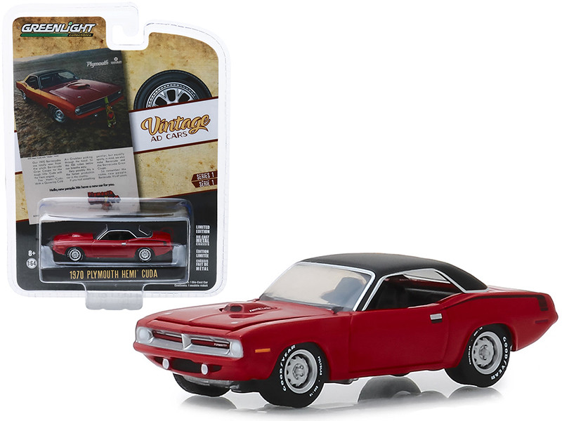 1970 Plymouth HEMI Barracuda Red Black Top Hello New People We Have A New Car For You Vintage Ad Cars Series 1 1/64 Diecast Model Car Greenlight 39020 C