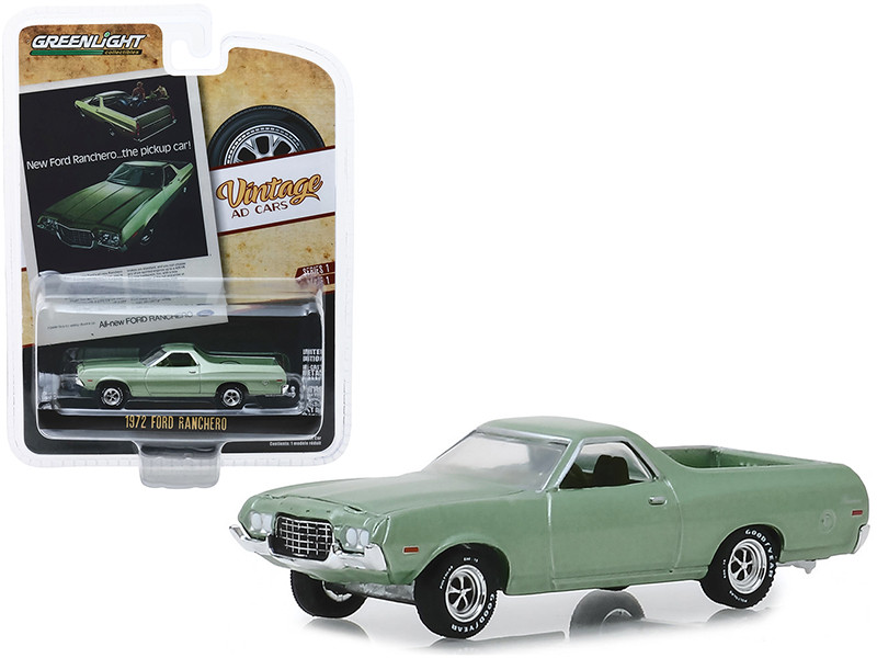 1972 Ford Ranchero Light Green New Ford Ranchero The Pickup Car Vintage Ad Cars Series 1 1/64 Diecast Model Car Greenlight 39020 E