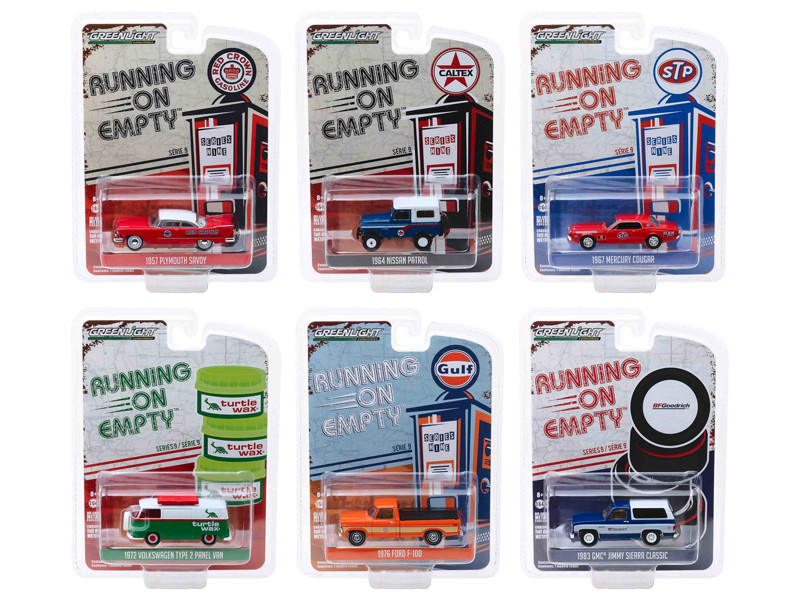 Running on Empty Series 9 6 piece Set 1/64 Diecast Model Cars Greenlight 41090