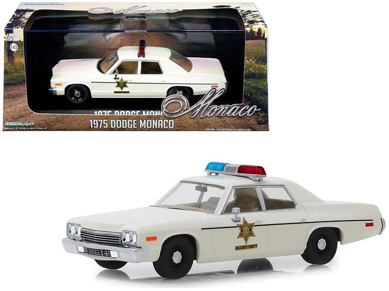 1975 Dodge Monaco Cream Hazzard County Sheriff 1/43 Diecast Model Car Greenlight 86567