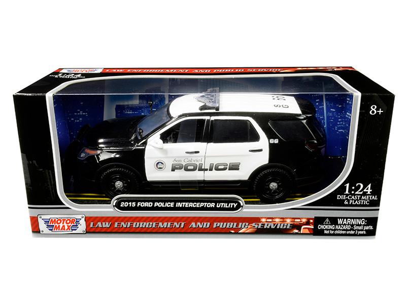 2015 Ford Police Interceptor Utility San Gabriel Police California Black White 1/24 Diecast Model Car Motormax 76964