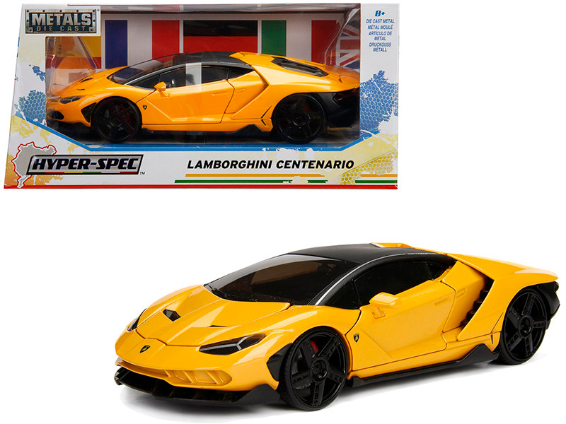 Lamborghini Centenario Metallic Yellow Hyper-Spec 1/24 Diecast Model Car Jada 99362