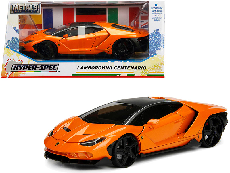 Lamborghini Centenario Metallic Orange Hyper-Spec 1/24 Diecast Model Car Jada 99363