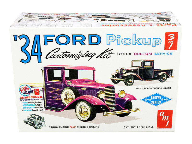 Skill 2 Model Kit 1934 Ford Pickup Truck 3 in 1 Kit Trophy Series 1/25 Scale Model AMT AMT1120