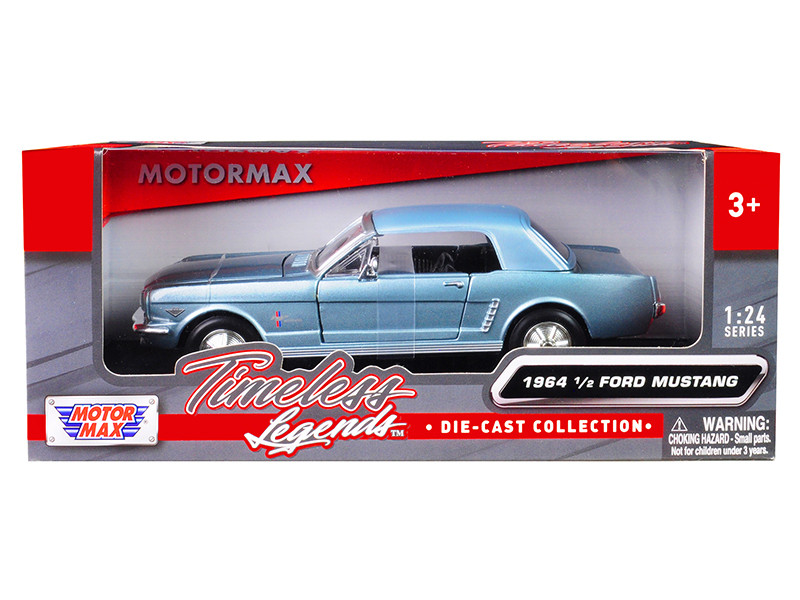 1964 1/2 Ford Mustang Metallic Light Blue 1/24 Diecast Model Car Motormax 73273
