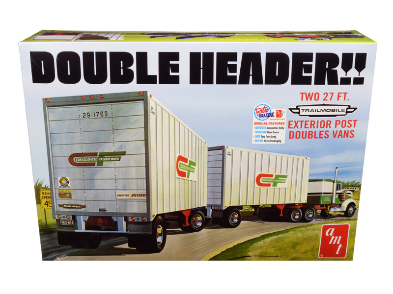 Skill 3 Model Kit Trailmobile Double Header Tandem Van Trailers 1/25 Scale Model AMT AMT1132