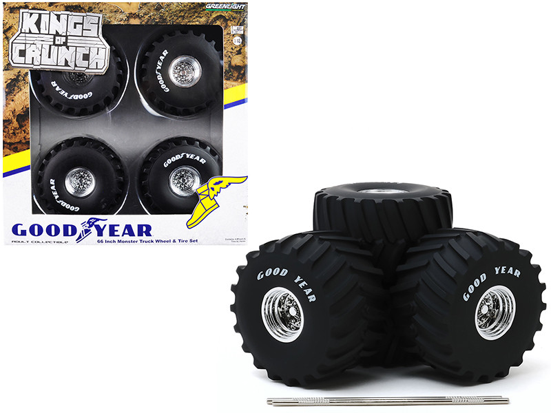 66-Inch Monster Truck Goodyear Wheels Tires 6 piece Set Kings of Crunch 1/18 Greenlight 13547