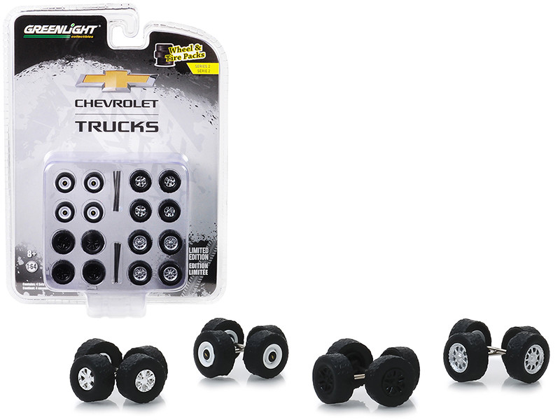 Chevrolet Trucks Wheels Tires Multipack Set 24 pieces Wheel & Tire Packs Series 2 1/64 Greenlight 16030 A