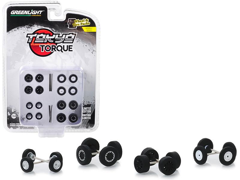 Tokyo Torque Wheels Tires Multipack Set 24 pieces Wheel & Tire Packs Series 2 1/64 Greenlight 16030 C