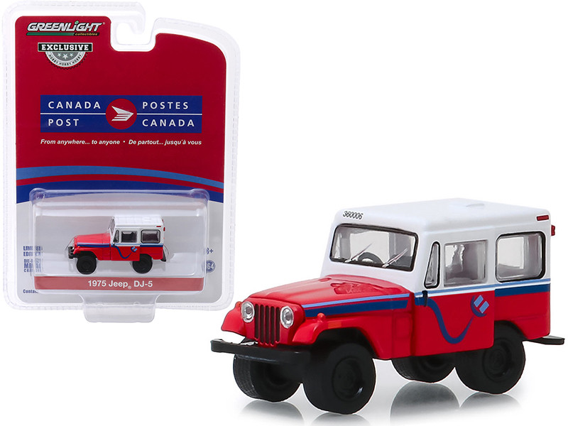 1975 Jeep DJ-5 Canada Post Red White Top Hobby Exclusive 1/64 Diecast Model Car Greenlight 30083
