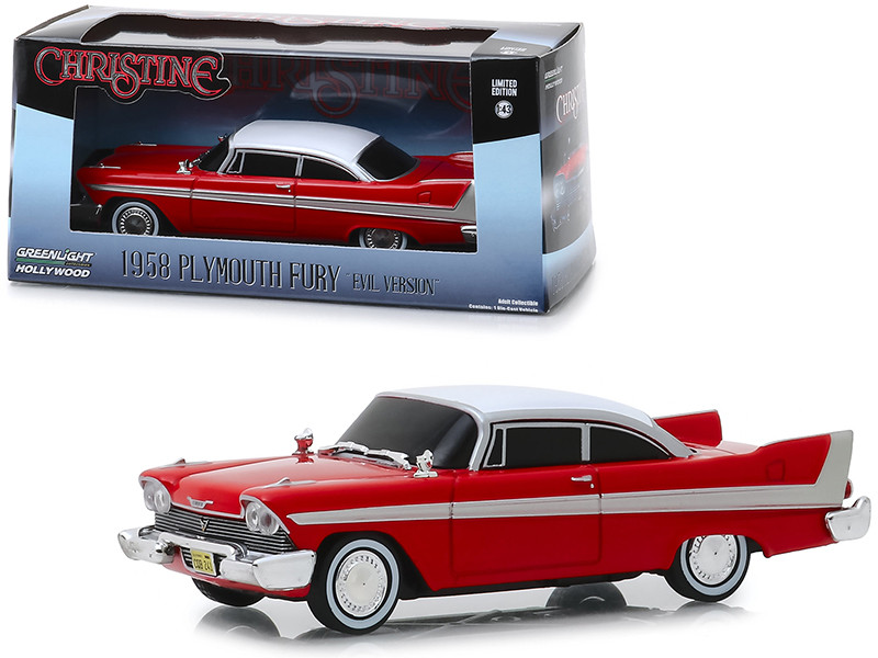 1958 Plymouth Fury Red Evil Version Blacked Out Windows Christine 1983 Movie 1/43 Diecast Model Car Greenlight 86575