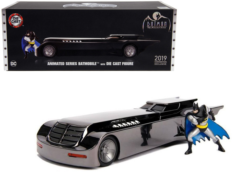 Chrome Batmobile Batman Diecast Figurine Animated Series DC Comics 2019 San Diego Comic Con Exclusive Limited Edition 1/24 Diecast Model Car Jada 30700