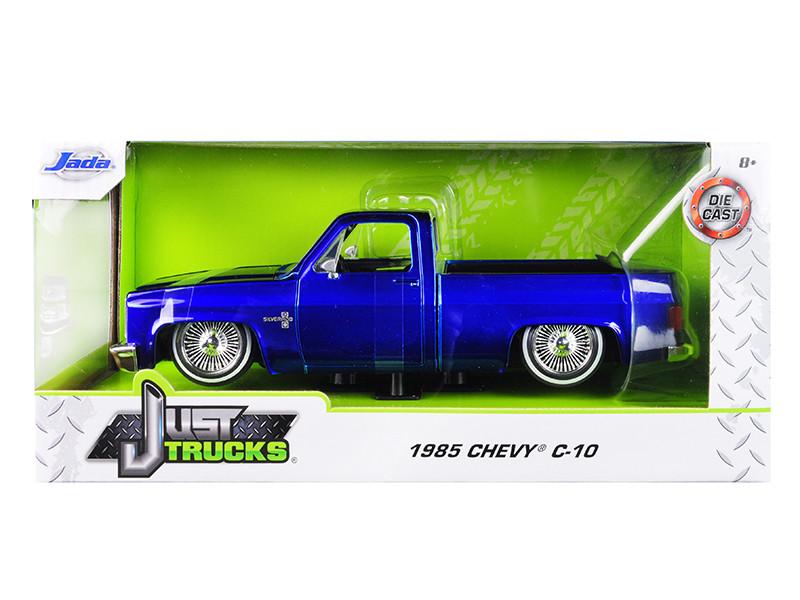 1985 Chevrolet Silverado C-10 Pickup Truck Custom Low Rider Wire Wheels Candy Blue Just Trucks 1/24 Diecast Model Car Jada 30287