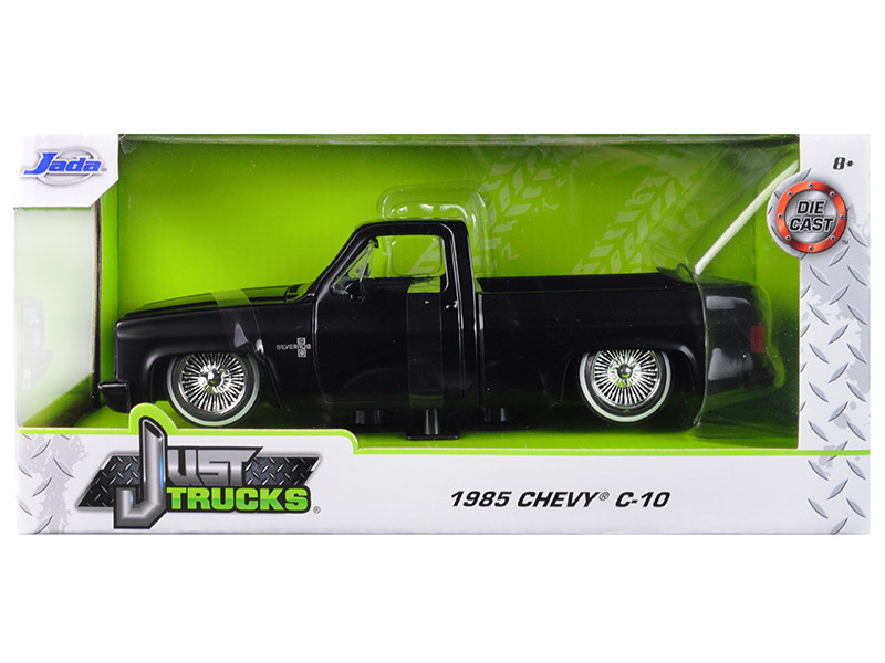 1985 Chevrolet Silverado C-10 Pickup Truck Custom Low Rider Wire Wheels Matt Black Just Trucks 1/24 Diecast Model Car Jada 31604