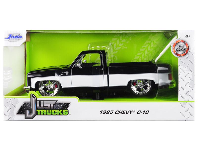 1985 Chevrolet Silverado C-10 Pickup Truck Custom Black White Just Trucks 1/24 Diecast Model Car Jada 31605
