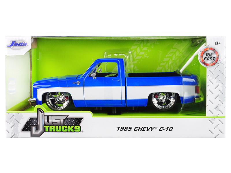 1985 Chevrolet Silverado C-10 Pickup Truck Custom Blue White Just Trucks 1/24 Diecast Model Car Jada 31606