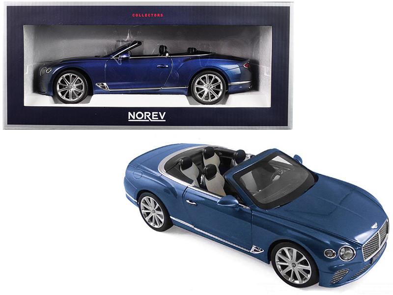 2019 Bentley Continental GT Convertible Blue Crystal Metallic 1/18 Diecast Model Car Norev 182785