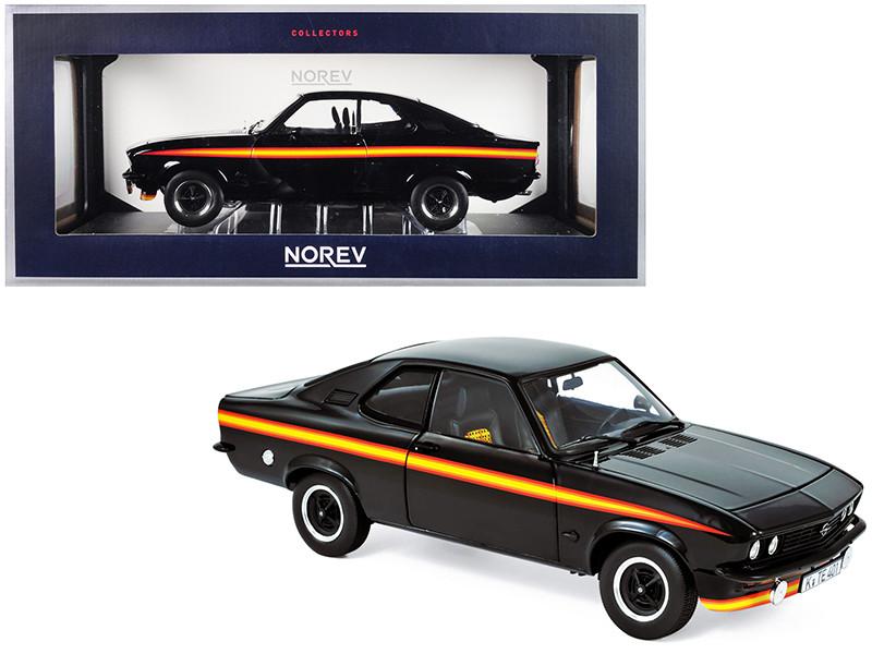 1975 Opel Manta GT/E Black Magic Black with Stripes 1/18 Diecast Model Car Norev 183636