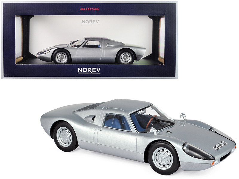 1964 Porsche Carrera 904 GTS Silver Blue Interior 1/18 Diecast Model Car Norev 187440
